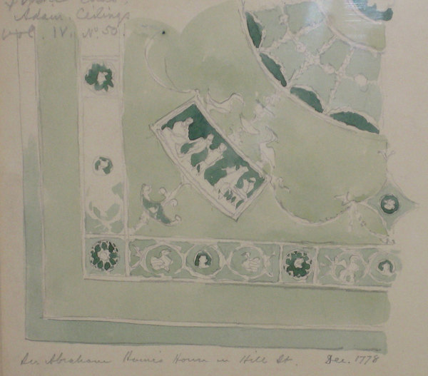 H W Lonsdale Study of a Robert Adam Ceiling Design for Sir Abraham Haine in Hill Street, Dressing Ro